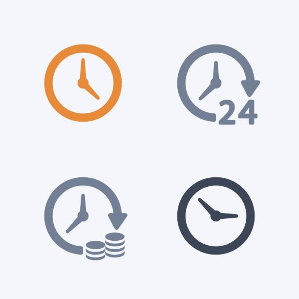 clocks & time - carbon icons - clock stock illustrations