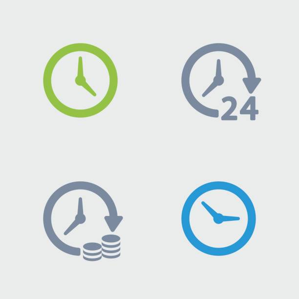 clocks & time - granite icons - clock stock illustrations