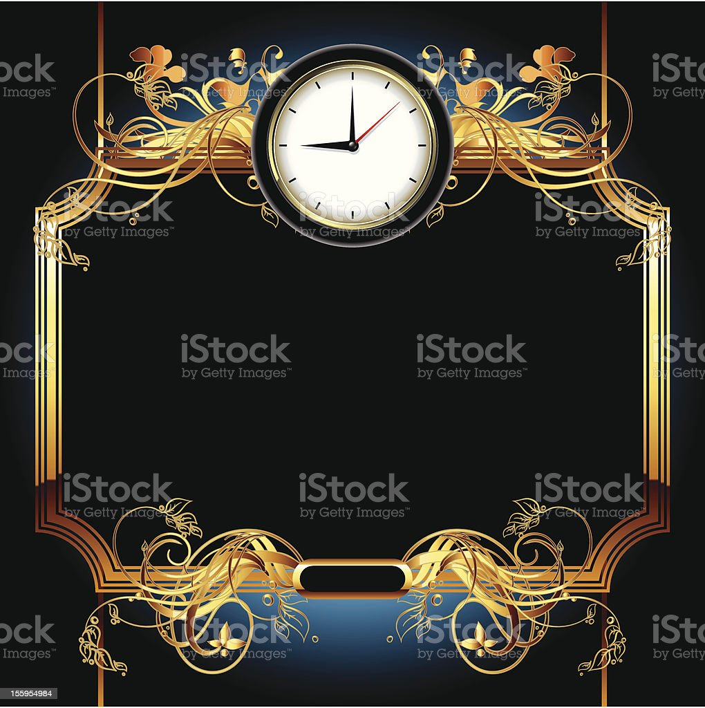 clocks with floral elements royalty-free stock vector art