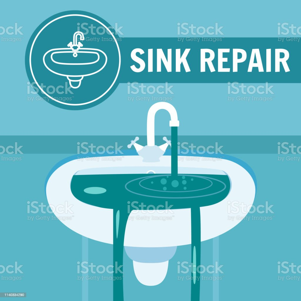 Sink Repair Banner Vector Illustration. Clogged Faucet Leaking Tap...