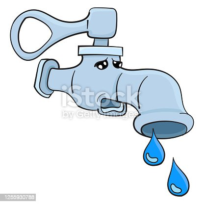 istock clogged water faucet cartoon character 1255930788