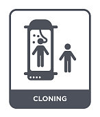cloning icon vector on white background, cloning trendy filled icons from Future technology collection