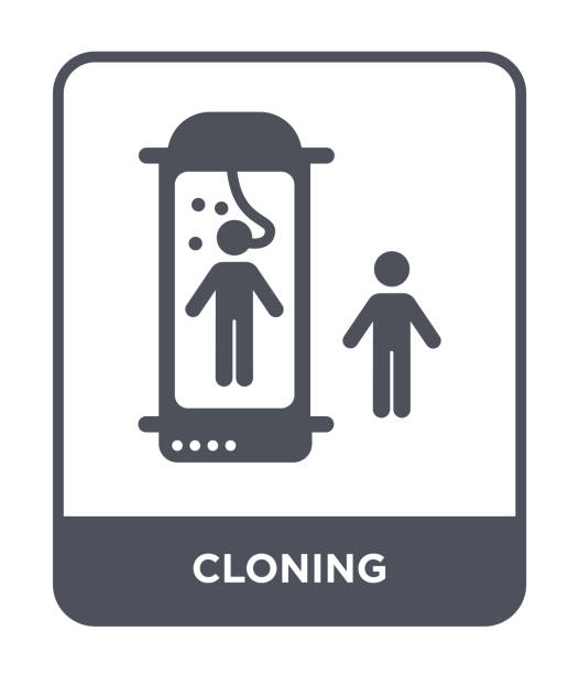 cloning icon vector on white background, cloning trendy filled icons from Future technology collection vector art illustration