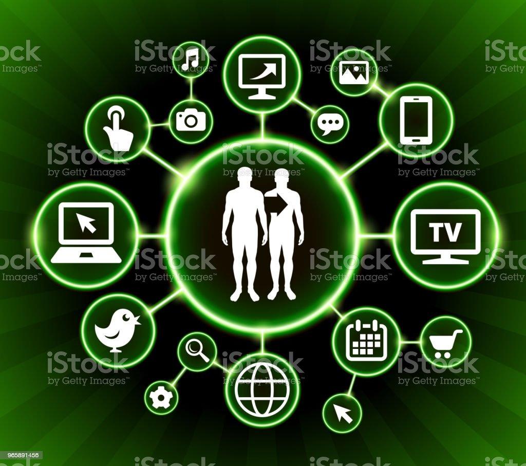 Klonen van Internet communicatie technologie donkere knoppen achtergrond - Royalty-free Achtergrond - Thema vectorkunst