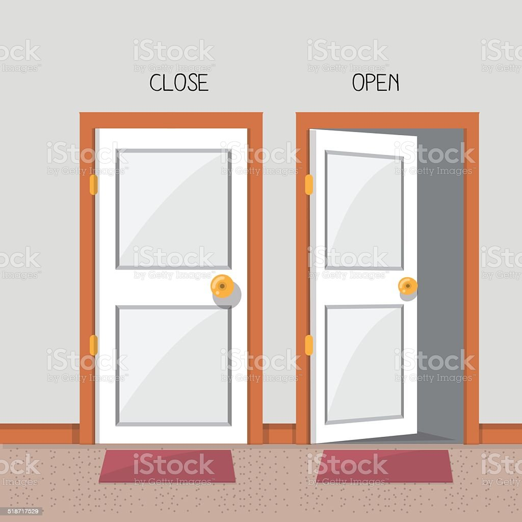 close and open door - vector illustration vector art illustration