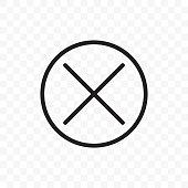 istock Close button vector icon. X close button symbol, delete cross in circle 1138089771