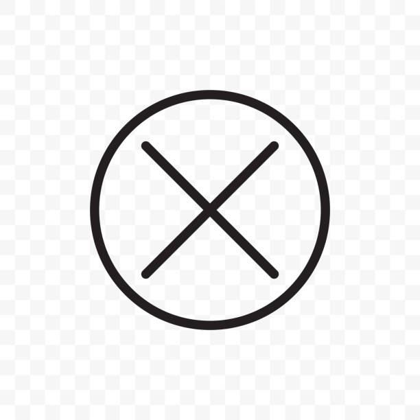 close button vector icon. x close button symbol, delete cross in circle - прикрывать stock illustrations