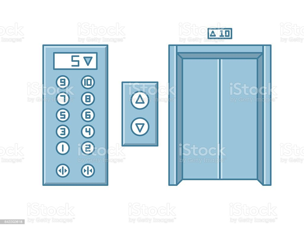 Close office building elevator and button panel. Line isolated vector. vector art illustration