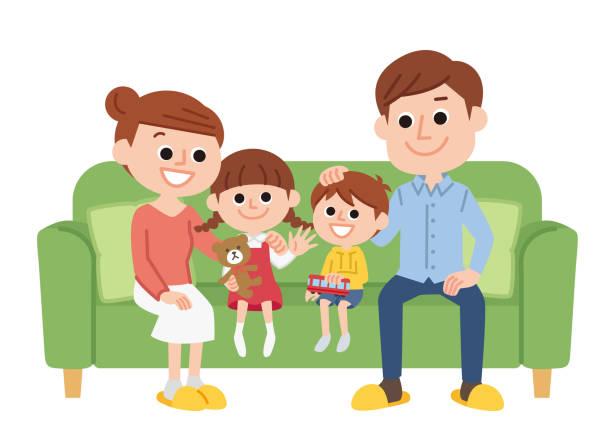 親と子を閉じる - 家族 日本点のイラスト素材/クリップアート素材/マンガ素材/アイコン素材