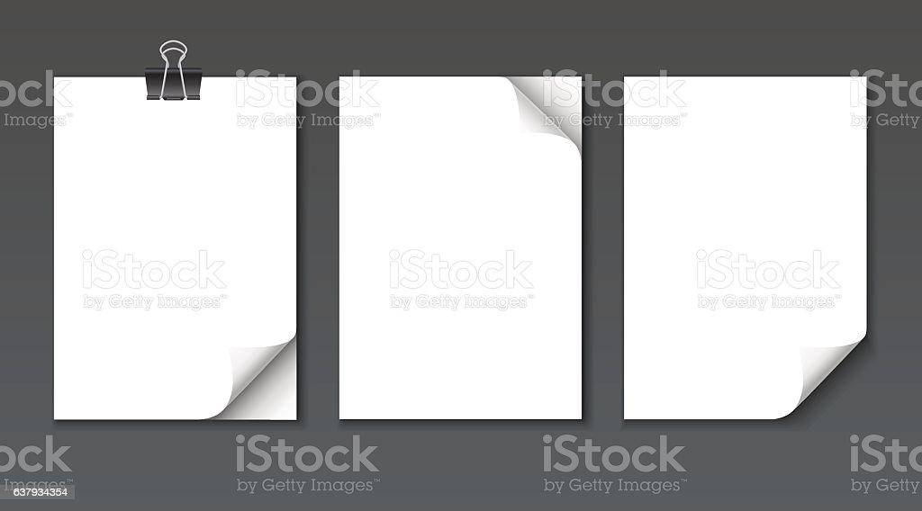 Close up empty paper sheets with curled corner mockup set. vector art illustration