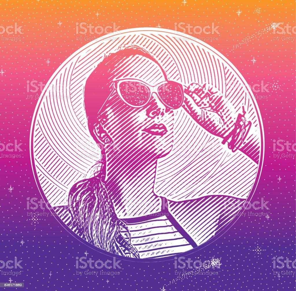 Close up engraving portrait of a beautiful businesswoman vector art illustration