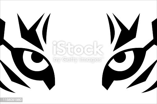 Close up eyes of tiger. Black and white t-shirt print with tiger face. Vector sticker