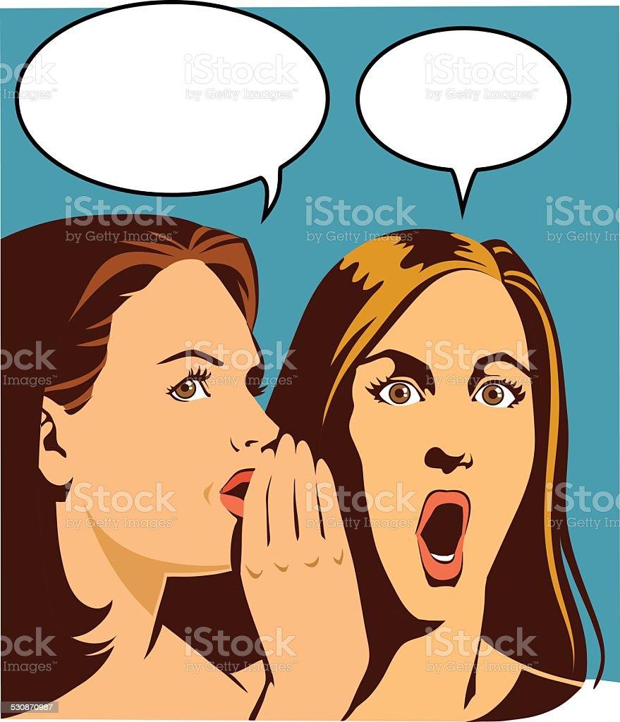 Close Up Gossip Between Two Women vector art illustration