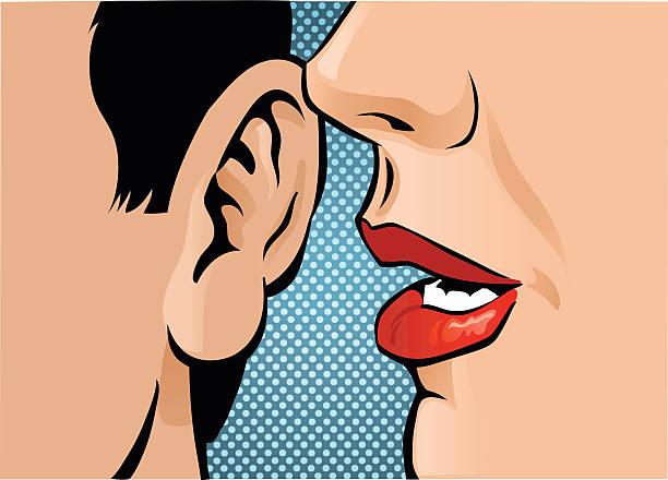 illustrazioni stock, clip art, cartoni animati e icone di tendenza di chiudere up pettegolezzo - ear talking