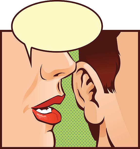 illustrazioni stock, clip art, cartoni animati e icone di tendenza di chiudere up pettegolezzo con discorso bolle - ear talking