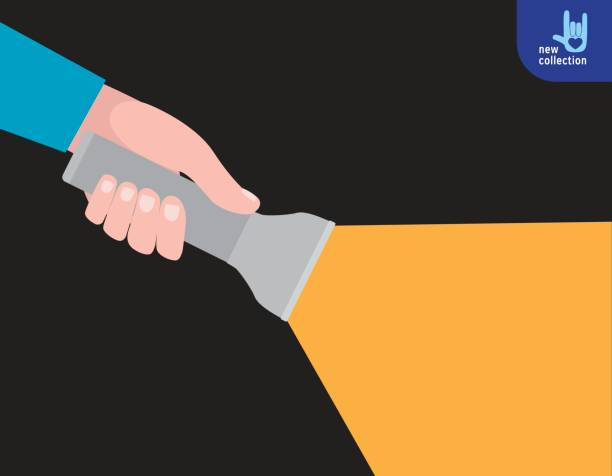 Close up. Hand holding torch light shining forward in the dark Searching way out concept. Vector flat cartoon design illustration. Isolated on white background. Close up. Hand holding torch light shining forward in the dark flashlight stock illustrations