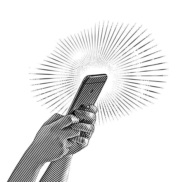 close up illustration of hands holding smart phone - граттаж stock illustrations