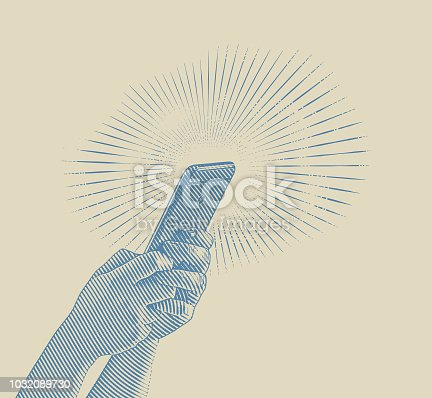 Close up illustration of hands texting on smart phone