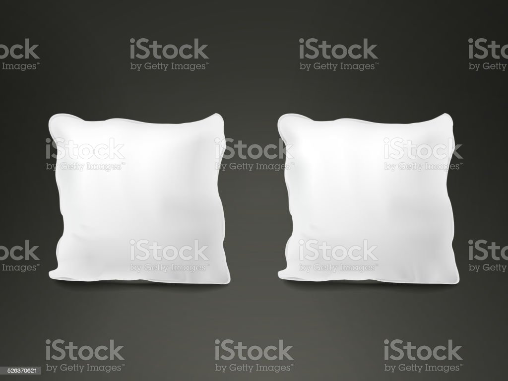 close up look at blank pillow set vector art illustration