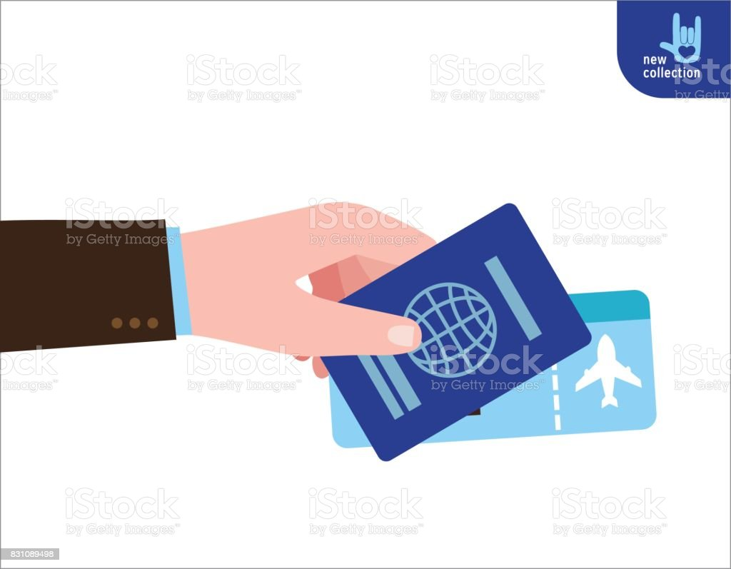 Close up. man holding  in his hand the passport and ticket flight. Symbol of travel and tourism. Vector flat cartoon design illustration. Personal identification concept. Isolated on white background.