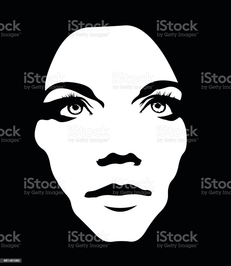 Close up monochrome portrait of girl looking up vector art illustration
