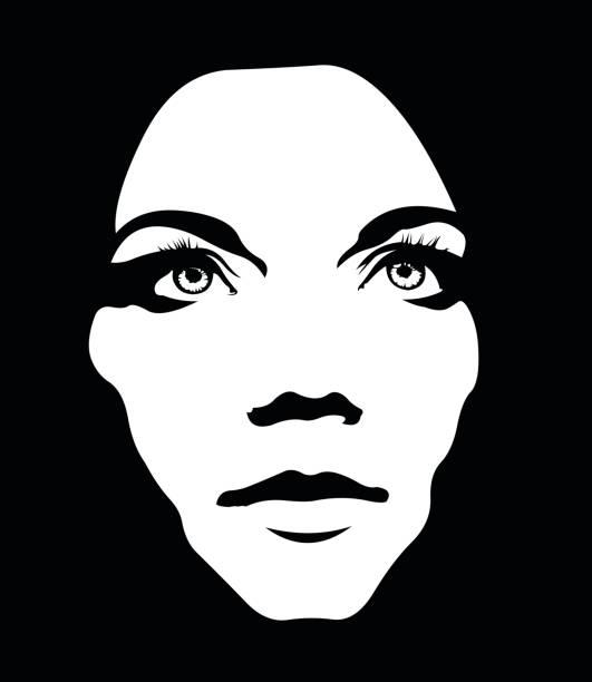 monochrome portrait mädchen blickte hautnah - kopfleuchten stock-grafiken, -clipart, -cartoons und -symbole