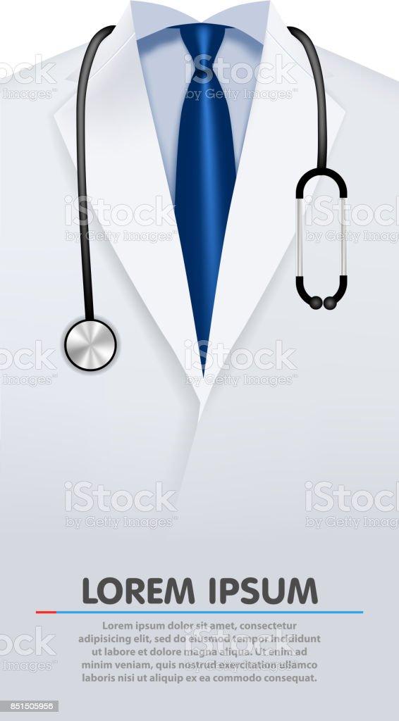 Cerca de un albornoz de laboratorio de los doctores. - ilustración de arte vectorial