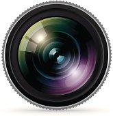 Close up of a large camera lens