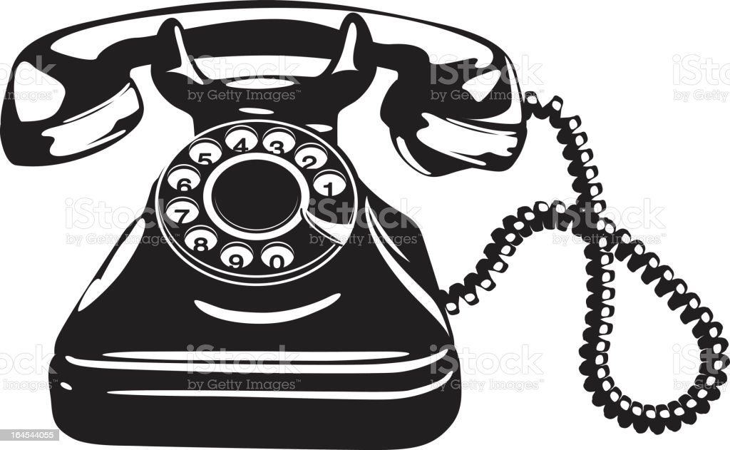 Close up of a vintage style telephone vector art illustration