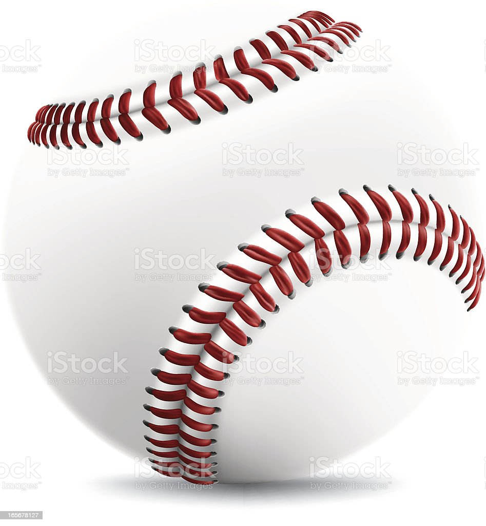 Close up of a white baseball with red stitching  royalty-free stock vector art