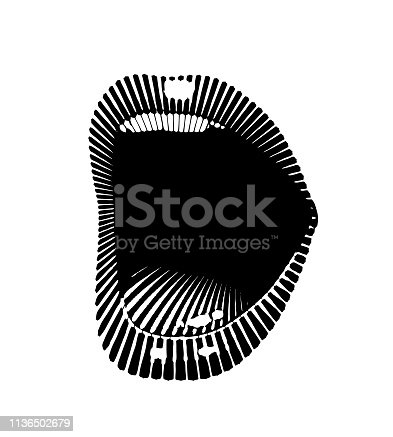 Engraving vector Close up of a Woman's lips laughing and smiling