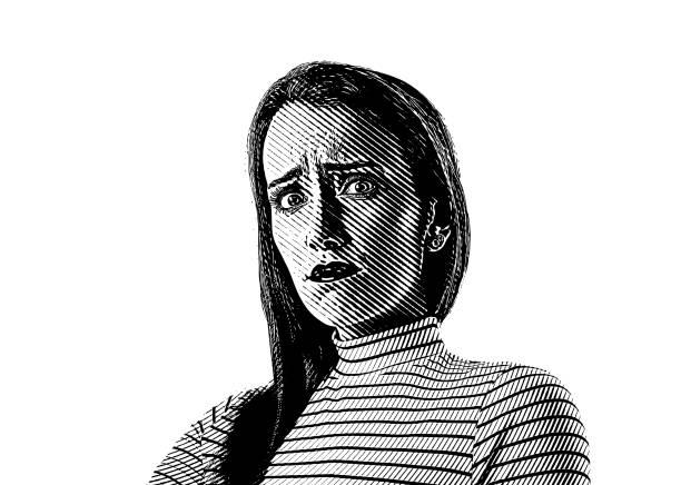 ilustrações de stock, clip art, desenhos animados e ícones de close up of a young woman with stressed out facial expression - deceção