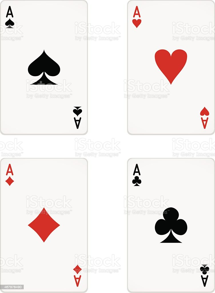 Close Up Of Ace Of Each Card Suit Arranged In A Square Stock Vector