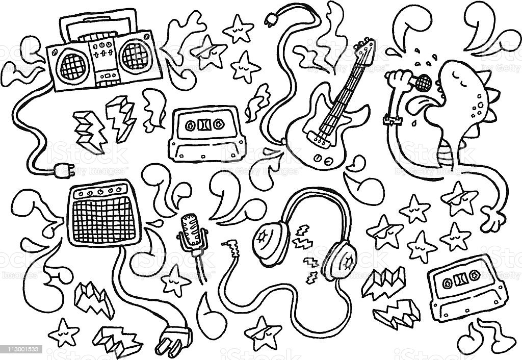 Close up of black and white line doodles vector art illustration