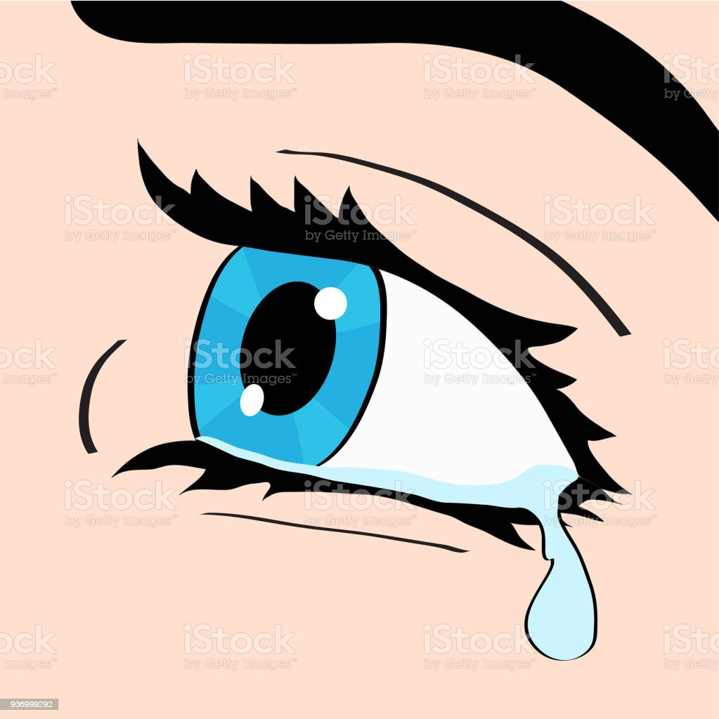 Close up of blue eye and tear, a woman crying, pop art comic style retro vector illustration Close up of blue eye and tear, a woman crying, pop art comic style retro vector illustration, hand draw Beauty stock vector