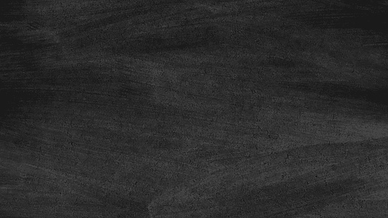 Close up of clean school blackboard. Chalk rubbed out on black horizontal chalkboard. Blackboard or chalkboard texture. Vector illustration. Grunge background.