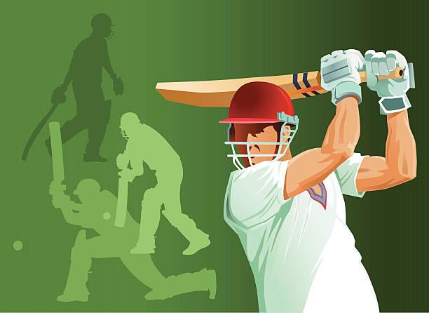 ilustraciones, imágenes clip art, dibujos animados e iconos de stock de primer plano de críquet bateador batear con siluetas - críquet