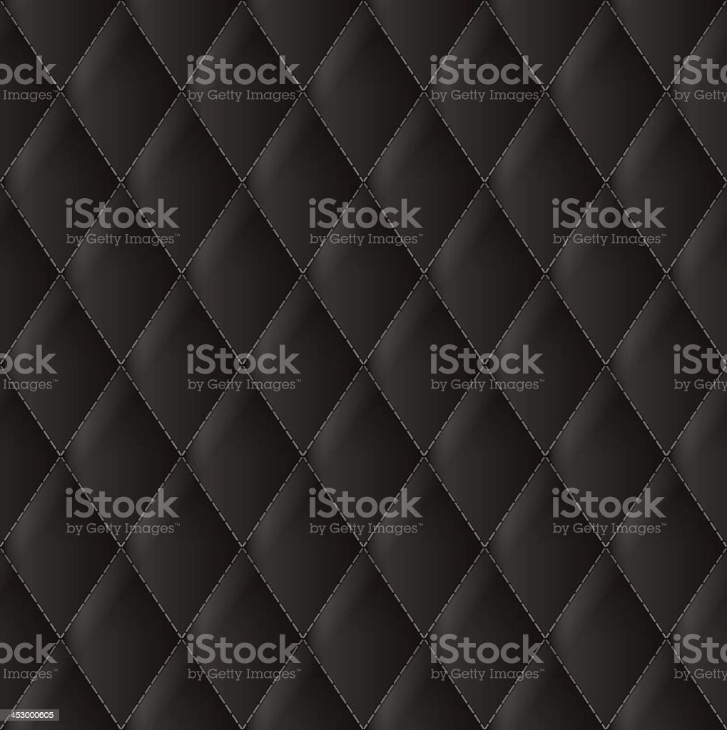 A close up of Diamond black leather upholstery vector art illustration