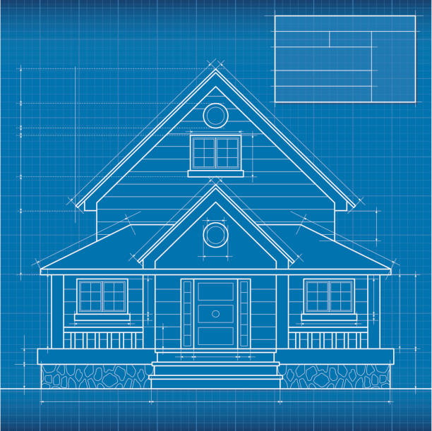 Royalty free house blue print clip art vector images close up of digitally engineered house blueprint vector art illustration malvernweather Choice Image