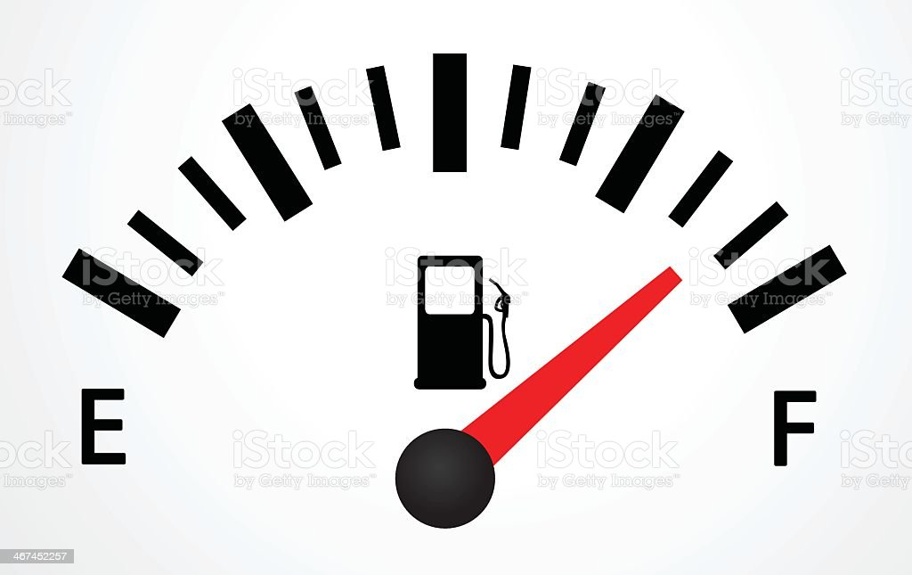 Close up of gas tank reading almost full vector art illustration