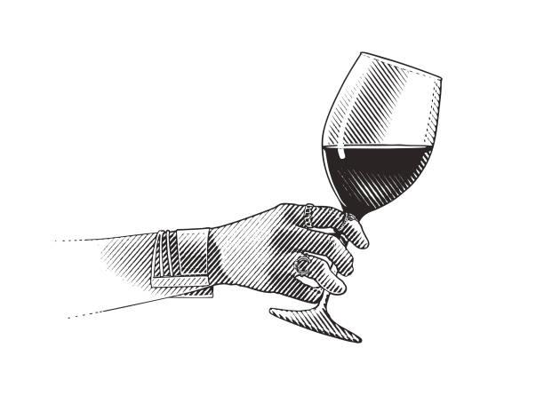 bildbanksillustrationer, clip art samt tecknat material och ikoner med närbild på glas vin och kvinnas hand - vitt vin glas