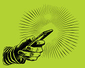 Stipple illustration of a hand holding smart phone