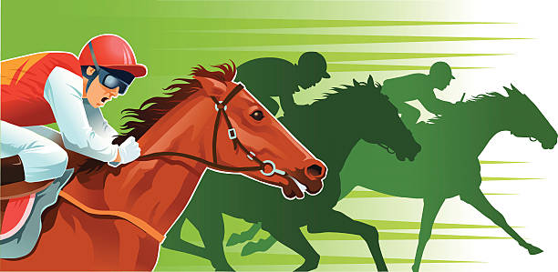 Close Up Of Horse Racing With Background Silhouettes Vector Art Illustration