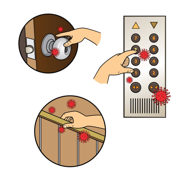 ilustrações de stock, clip art, desenhos animados e ícones de close up of human hand touching doorknob, elevator button, bannister to use for an unhealthy lifestyle and risk for coronavirus. - na superfície