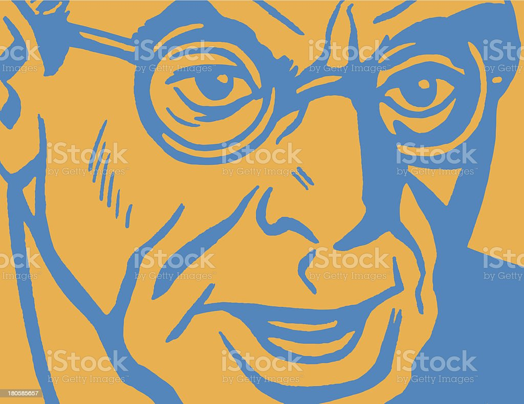 Close up of Man Wearing Glasses royalty-free stock vector art
