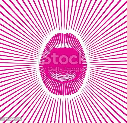 istock Close up of mouth and lips announcing 1161304920