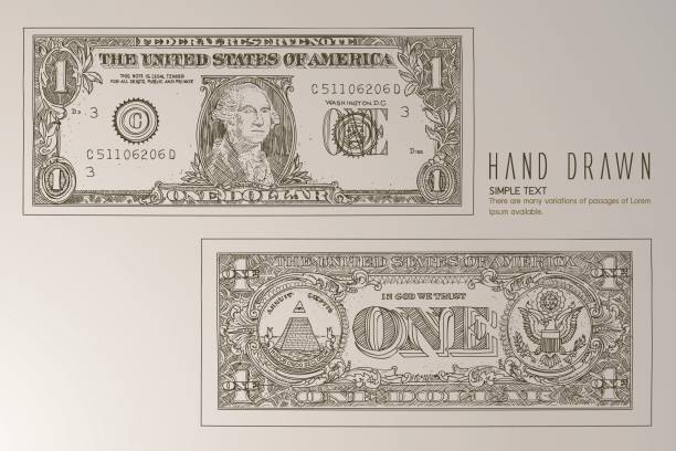 close up of one dollar. - dollar bill stock illustrations