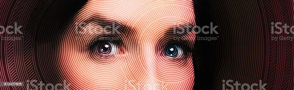 Close up of one woman's eyes vector art illustration