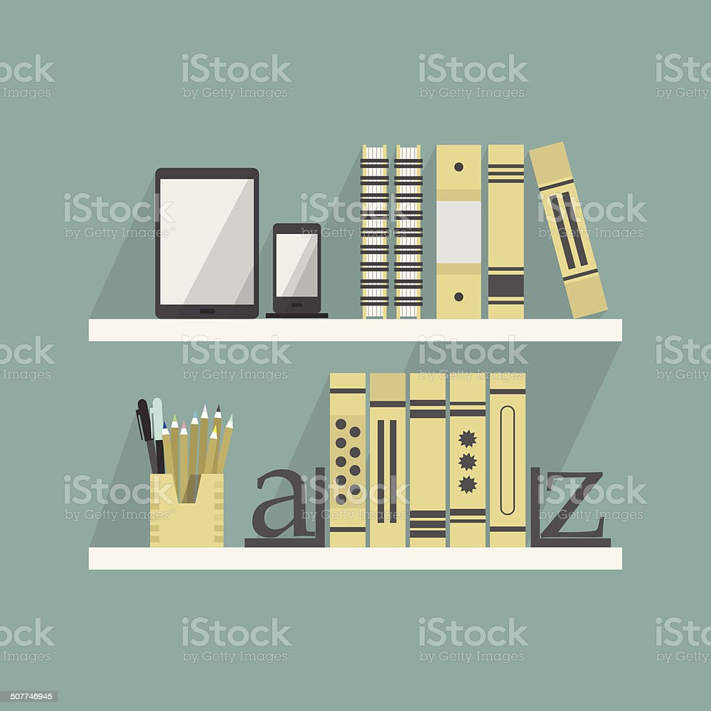 Close up of shelves with some books and accessories vector art illustration