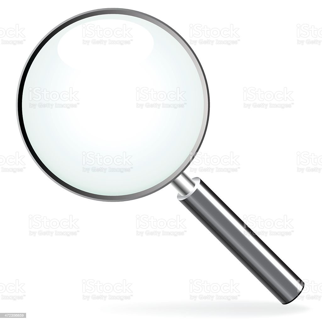 Close up of silver magnifying glass vector art illustration